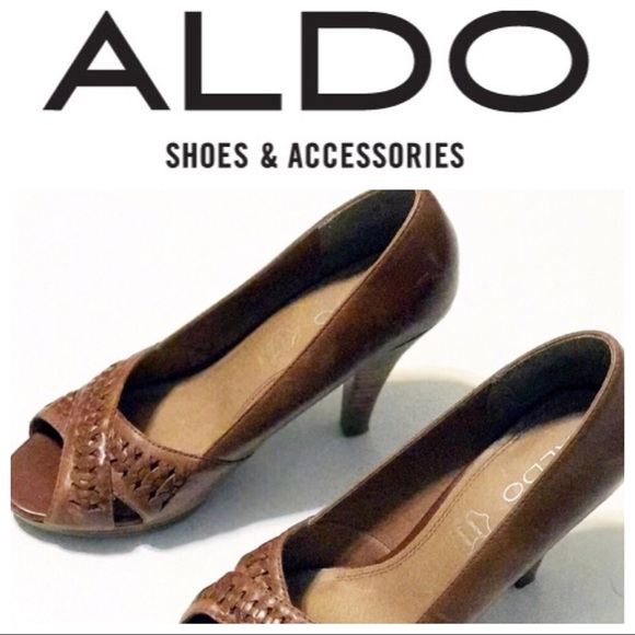361c74c668c4 Aldo Shoes - Aldo genuine leather crossed open toe brown heels